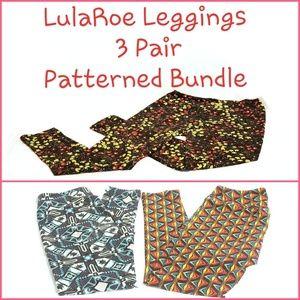LulaRoe Leggings - 3 Pair Patterned Bundle